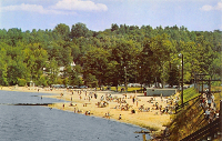 Beachgoers at Weirs Beach in the 1950s